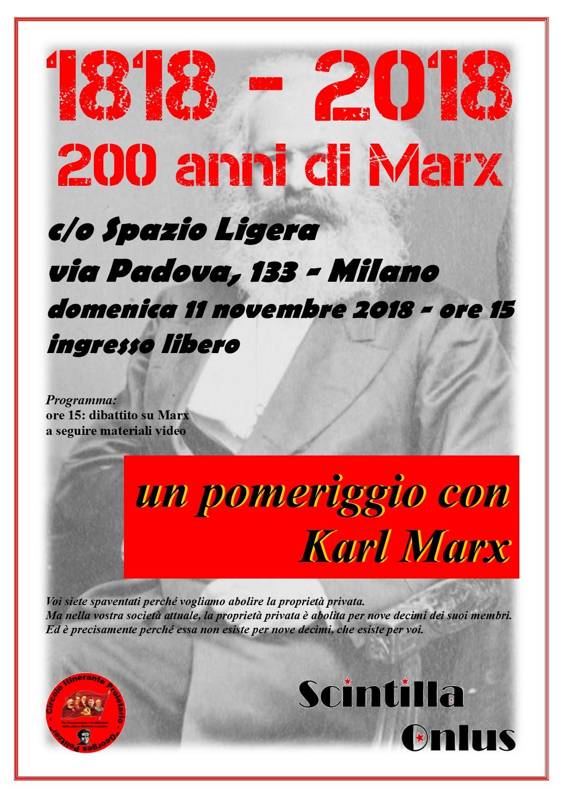 11 novembre 2018: 1818 – 2018 buon compleanno KarlMarx