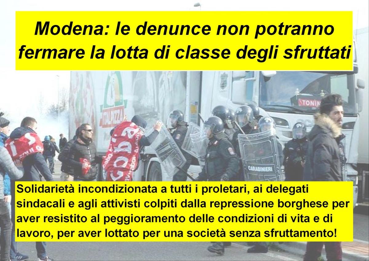 Modena: le denunce non potranno fermare la lotta di classe deglisfruttati