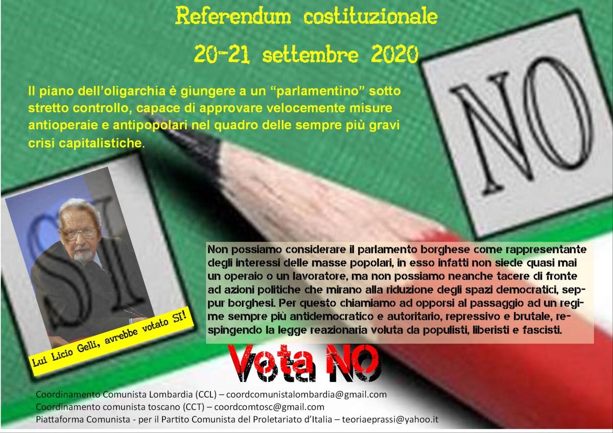Sul Referendum al taglio dei parlamentari: un aspetto della trasformazione reazionaria dello Statoborghese